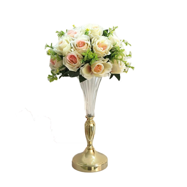 Flower Vase Creative Metal Wedding Tabletop Centerpiece Event Road Lead Party Glass Flower Rack Stand For Homes Decor 10PCS/ Lot