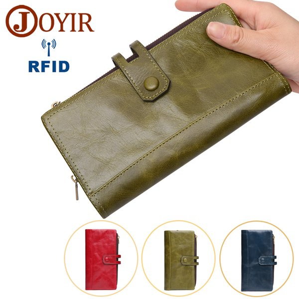 Wholesale Hot Women Long Clutch Wallets New Design RFID Women Wallet Genuine Leather Ladies Coin Purses Card Holder Women Phone Bags 2070