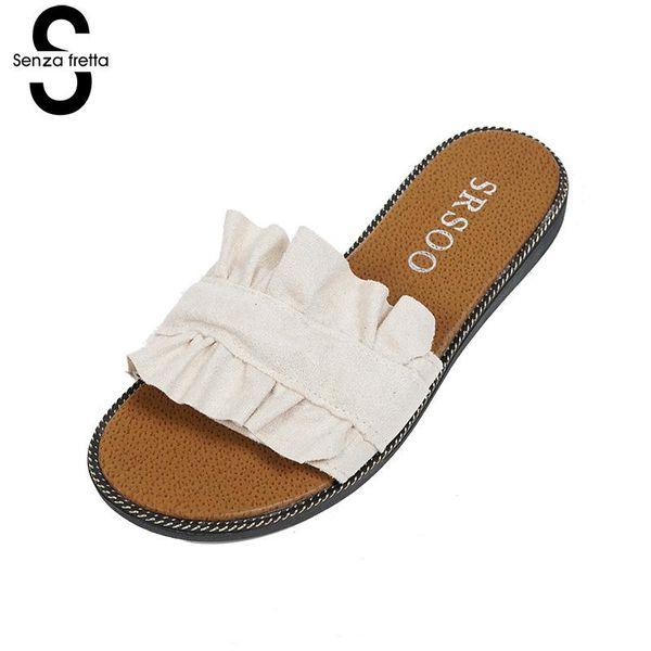 Senza frizione Scarpe estive donna Bellezza Pantofola Pantofole in pelle scamosciata con pizzo nero Fungus Sandali da spiaggia donna casual 3 colori