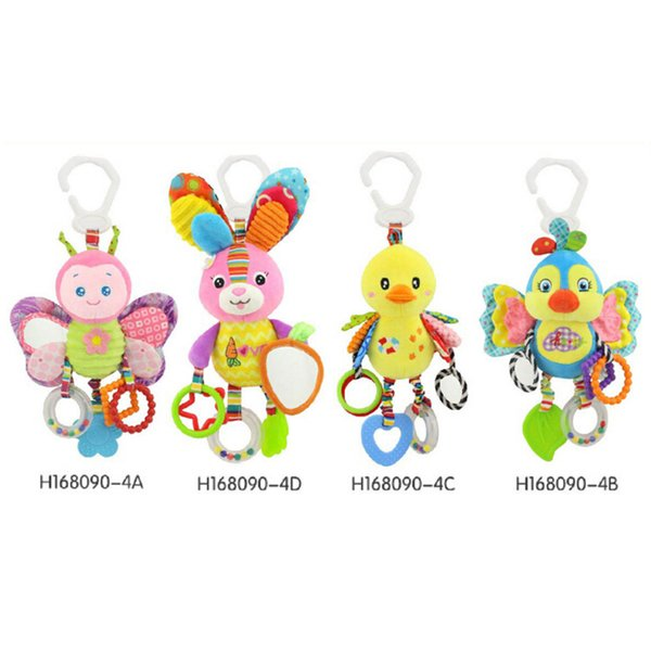 2018 Cute butterfly rabbit duck bird baby kids stroller bed around hanging bell rattle activity soft toy outer baby plush toy