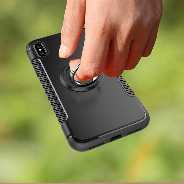 Free shipping for Iphone 8 ring case Adsorption stand case covers for Samsung S8 plus bumper phone case
