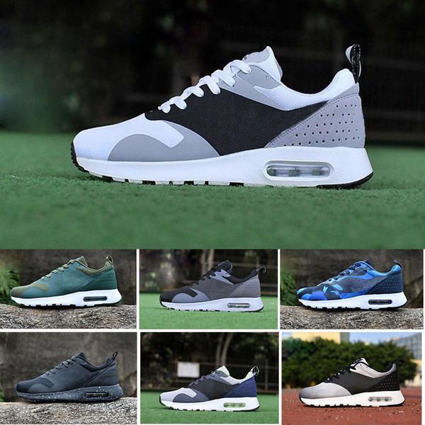 Compre Nike Air Max Tavas 87 Running Shoes Nuevo 2018 BARATA Tavas 87 90 Camuflaje Hombres 87 Thea Mujeres Zapatos Informales Top Original Negro Thea