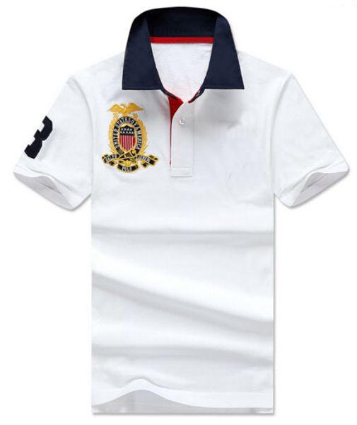 Moda Erkek Casual Polo Gömlek Amerika Moda Kısa Kollu Katı Polos Büyük Midilli Pamuk Yarış Tee Tshirt Siyah Beyaz Sarı S-2XL