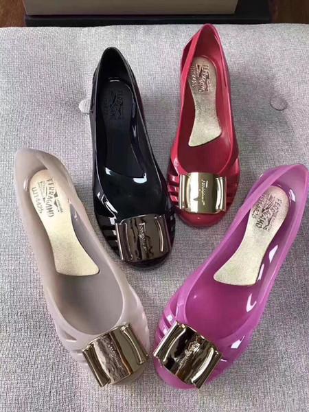 2019 новый летний желе обувь Кристалл плоские сандалии пляжная обувь боковая пряжк