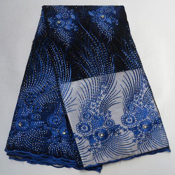 Африканская ткань шнурка Высокомарочная вышитая сетка гипюра нигерийские ткани шнурка с камнями французская сетчатая ткань XY41505