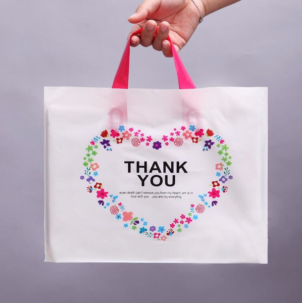 Thank You Gift Bags Birthday Party Wedding Favor Plastic Pouches Shopping Gift Big Plastic Bags with Handle 50pcs
