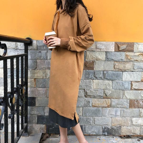 Vestito lungo allentato elegante Maniche lunghe Donna Top 2018 Inverno Chic Casual Abito con cappuccio Donna Autunno Moda vestido