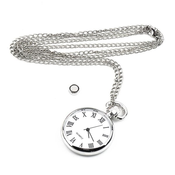 Long Link Chain Necklace Pocket & Fob Watches Vintage Silver Round Pendant Fashion Style Watch for Dropshipping