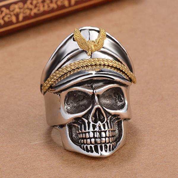 Silver World War II Soldier Anniversary Mens Rings Punk Rock Vintage Skull Ring Biker Men Jewelry 02