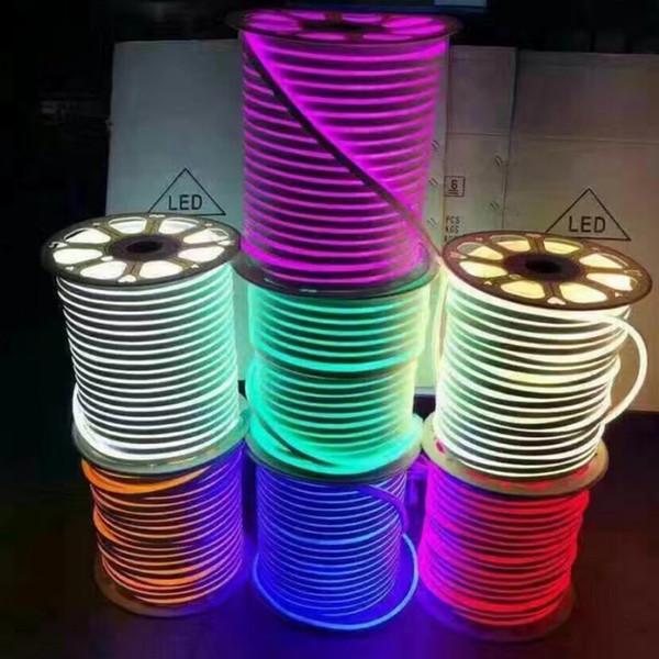 DC 12 V 24 V LED Neon Halat işık SMD 2835 120 LEDs / m Su Geçirmez esnek Yumuşak şerit BAR Işıkları 1 m 5 m 20 m 50 m 100 m