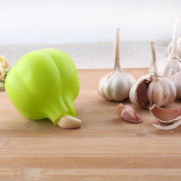 Silicone Garlic Peeler Green Colors Garlic Shaped Stripper Tube Peeling Garlic Peeling Household Gadgets Kitchen Tools