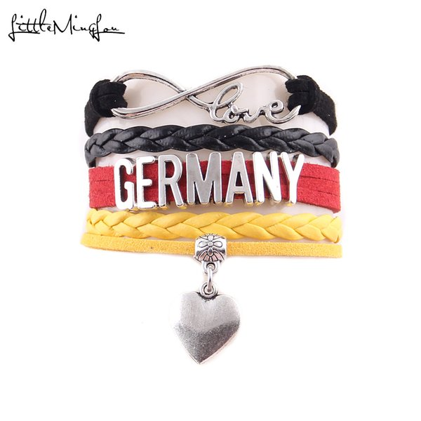 Infinity Antique Cuivre Charme Cuir Bracelet Bangle Love Coeur Fleur
