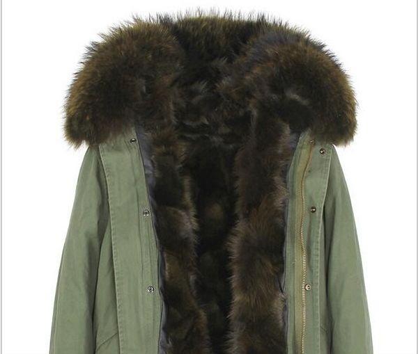Lavish raccoon fur trim women snow coats outdoor jackets Jazzevar dark green fox fur liner army green canvas mini parka with ykk zipper