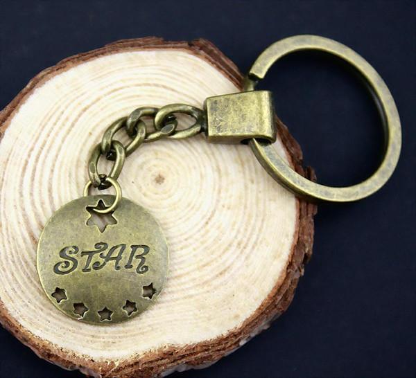 6 Pieces Key Chain Women Key Rings Fashion Keychains For Men Star 22mm