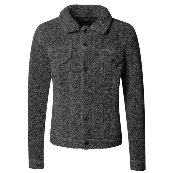 Men Autumn New Woolen Thick Warm European Style Fleece Furry Jacket Outwear Men's Winter Plush Brand Cotton Cardigan Coat F8217