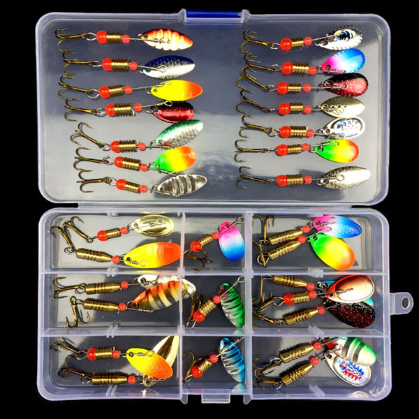 wholesale 10/30pcs Assorted Fishing Lures Metal Fishing Baits Bass Spoon Spinner Baits with Sharp Fishing Tackles Box Accessorie