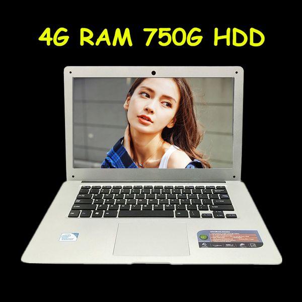 Cheap 14 Laptop Computer Notebook Pentium Quad Core 4G RAM 750G HDD Windows 7/8 WIFI Webcam Portable Laptops PC 3 Color