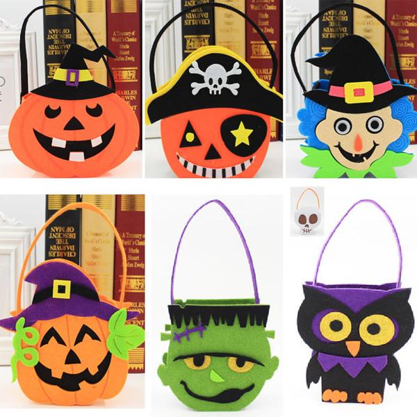 Zucca di Halloween pirata Cranio Candy Bag Cestino Faccia Bambini Regalo Wrap Handhold Pouch Tote Bag Non tessuto Puntelli Decorazione HH7-1348
