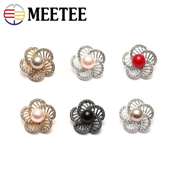 Meetee Mink Fur Coat Buttons Clothes Accessories Pearl Metal Button Mushroom Button Clasp for woman coat bags Embellishment Sewing Supplies