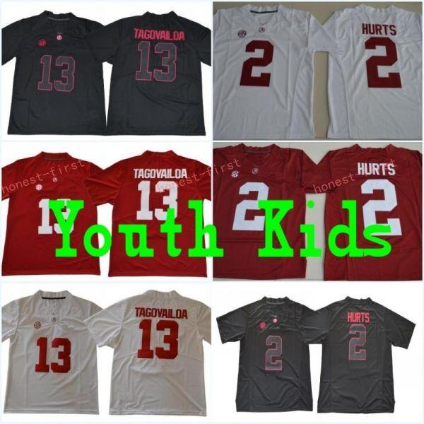 Youth 13 tua tagovailoa kid 2 jalen hurt alabama crim on red white black name number titched college football jer ey hipping