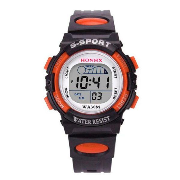 2018 Hot Sale Waterproof Children Watch Boys Girls LED Digital Sports Watches Silicone Rubber Kids Alarm Date Casual Watch HONHX