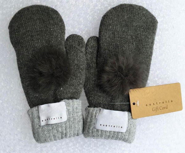 New Women's Brand Gloves for Winter and Autumn Cashmere Mittens Gloves with Lovely Fur Ball Outdoor sport warm Winter Gloves