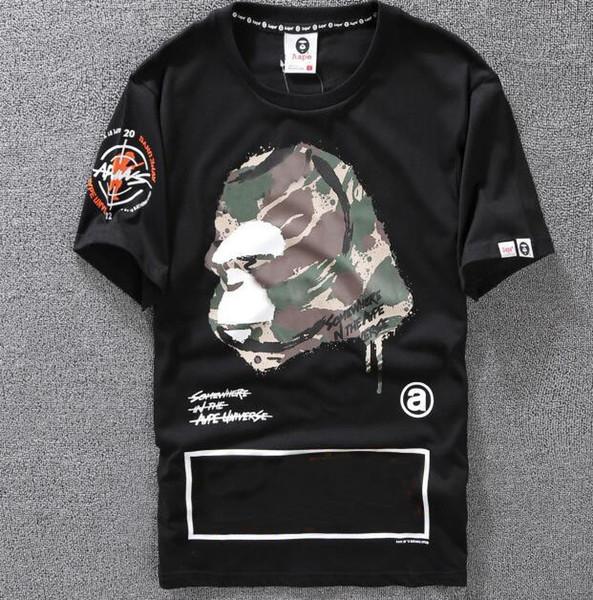Camiseta casual Camiseta de diseñador de ropa para hombre Negro Blanco Naranja Tamaño S-XXL Mezcla de algodón Cuello redondo Impresión de dibujos animados de manga corta