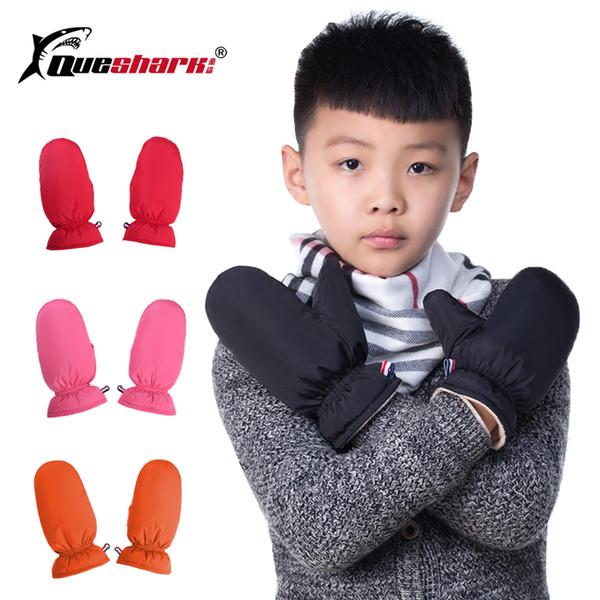 Зимние детские теплые лыжные перчатки 100% White Duck Down детские мальчики для девочек Спортивные варежки Водонепроницаемые толстые флисовые перчатки для сноуборда