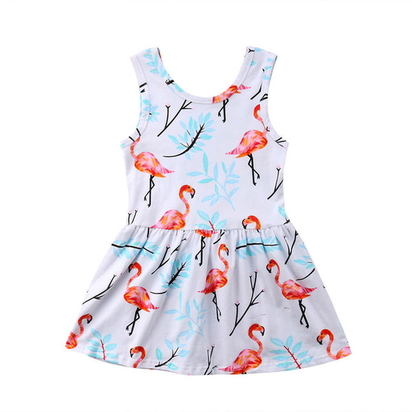 Vestidos para niñas de verano Flamingo Impreso vestido de princesa Tirantes  de algodón Falda corta para 0e468b50873f