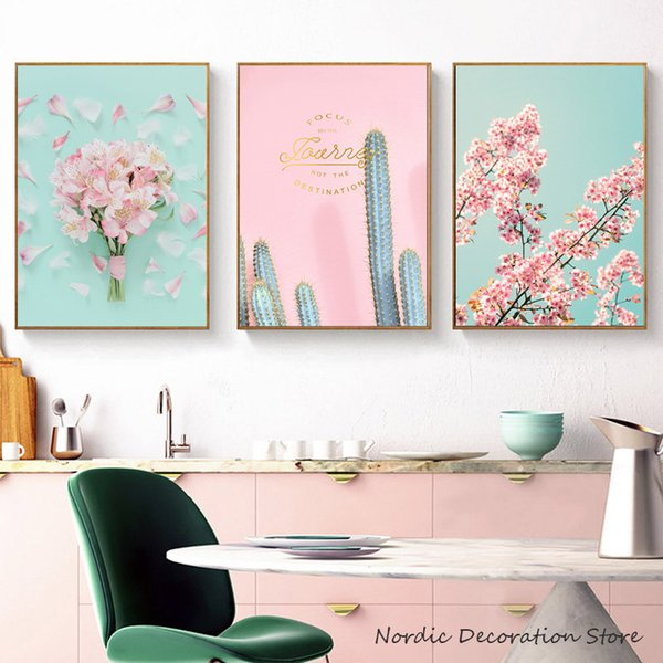 Leaf Cactus Abstract Tower Pink Flowers Nordic Posters And Prints Wall Art Canvas Painting Wall Pictures Canvas Art Unframed