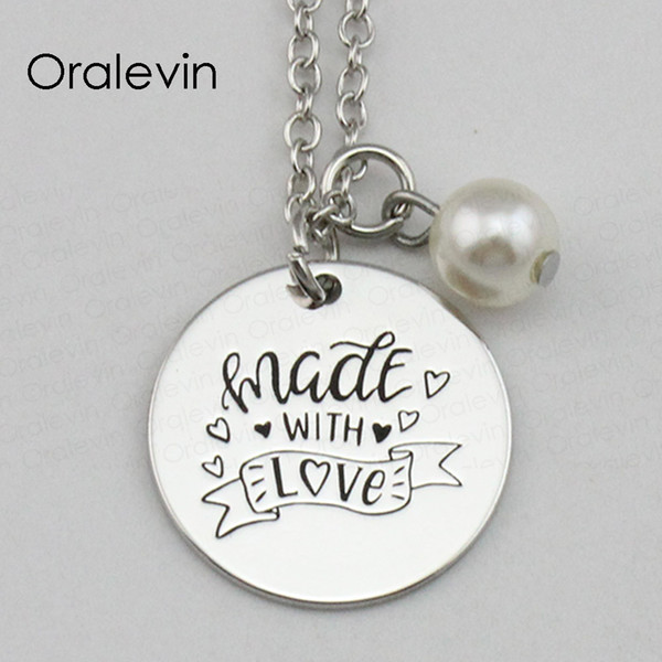 MADE WITH LOVE Inspirational Hand Stamped Engraved Glamour Creative Pendant Necklace for Women Gift Jewelry,18Inch,22MM,10Pcs/Lot, #LN2213