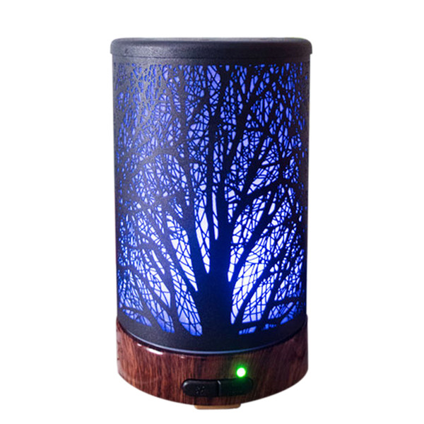 Ultrasonic Cool Mist Aromatherapy Diffuser 100ml Metal Aroma Essential Oil Humidifier With Colors Changed LED Lights,Waterless Protection