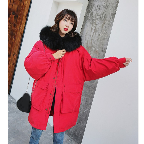 Winter Women Fur Collar Coat Loose Medium-Long Hooded Parkas Coat Solid Ladies Thick Warm Wadded Jacket Outwear