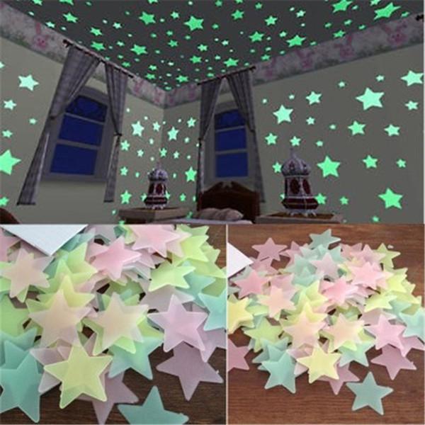 100pcs stelle 3D Glow In The Dark Wall Stickers Adesivi murali fluorescenti luminosi per bambini Baby Room Camera da letto soffitto Home Decor