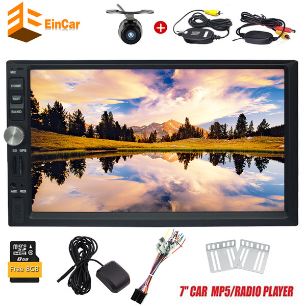 """7"""" Double DIN In Dash Car Stereo MP5 Audio 1080P Video Player GPS Bluetooth FM Radio TF USB SD AUX-in Wrieless RearView Camera"""