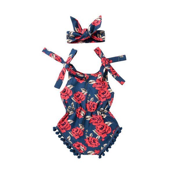 New Hot Infant Baby Girl Floral cotton sleeveless Jumpsuit Bodysuit Outfit Headband Clothes Sunsuit