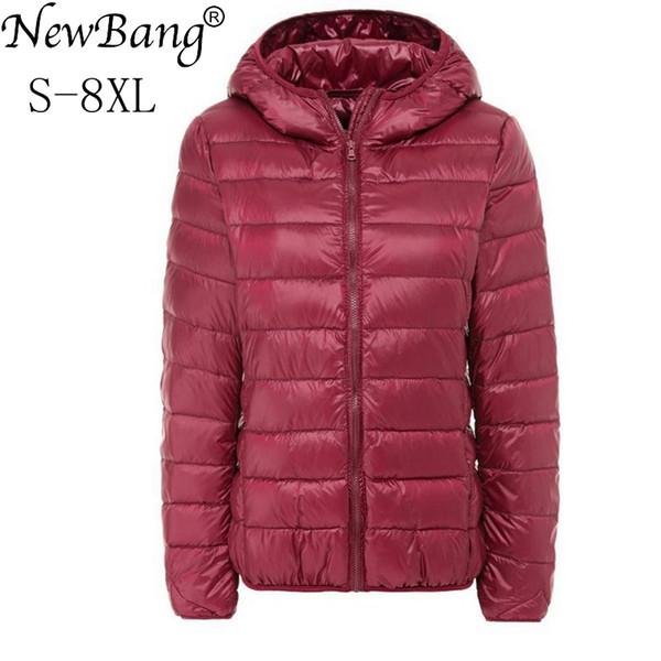 NewBang Marke Große Größe 7XL 8XL frauen Daunenmantel Plus Ultra Light Daunenjacke Frauen Herbst Winter Mit Kapuze Feder Warme Jacke