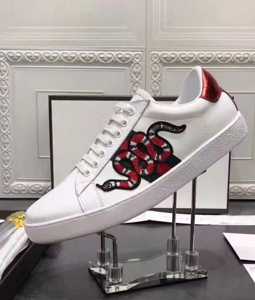 2018 nouvelles chaussures blanches à la main broderie couleur serpent modèle mode casual confortable marée chaussures livraison gratuite