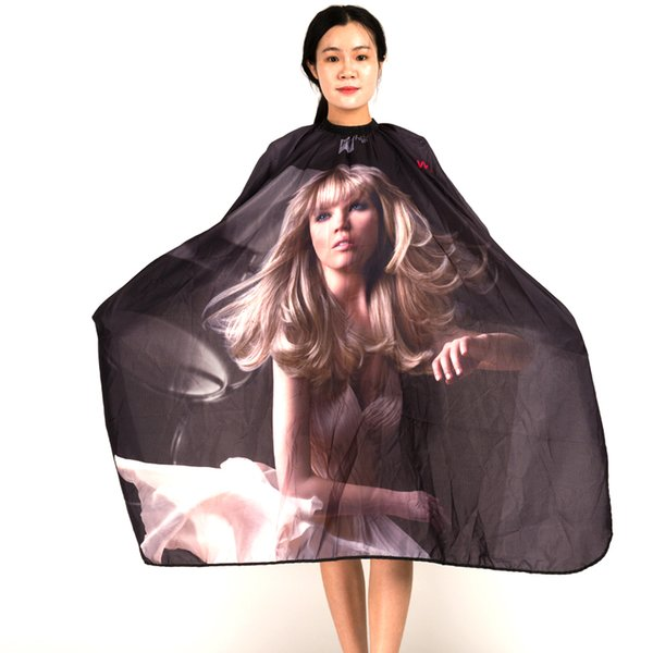 Free Shipping Professional Soft Salon Adult Hair Cape Girl Pattern Printing Gown For Hairdressing,Salon Cutting Wrap S078