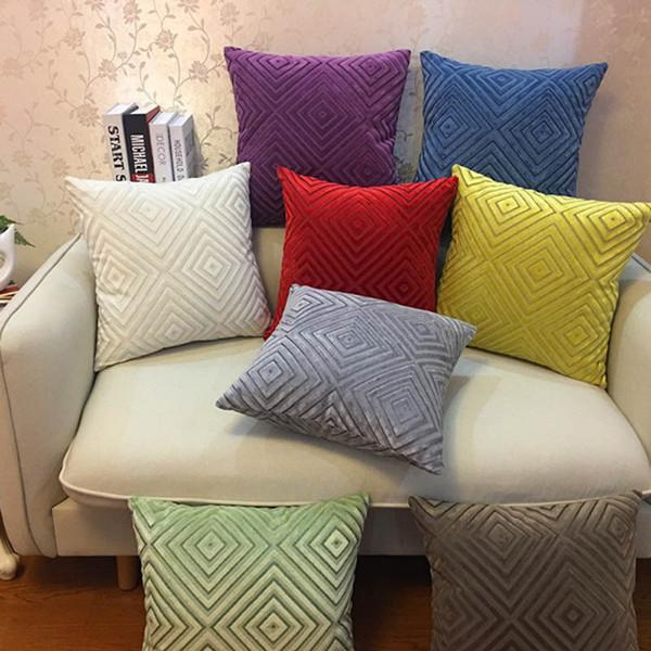 Modern Fashion Double Face Plain Solid Soft Cut Velvet Decorative Pillow Case Home Sofa Cushion Cover Square 45x45cm