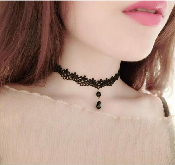 Wholesale- Fashion Necklaces For Women Beauty Girl Handmade Jewerly Gothic Retro Vintage Lace Necklace Collar Choker Necklace bib gem chain