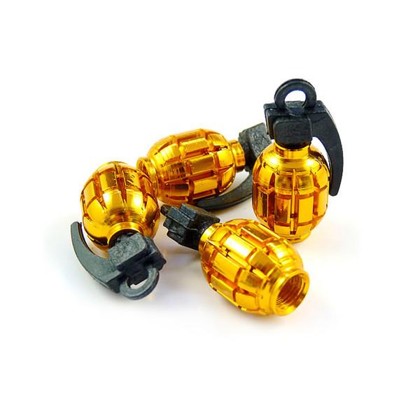 wholesale 4pcs/set Grenade-shaped Alloy Valve Caps Bicycle MTB BMX Tire Valve Anti-Dust Covers Top 6-Color #5489