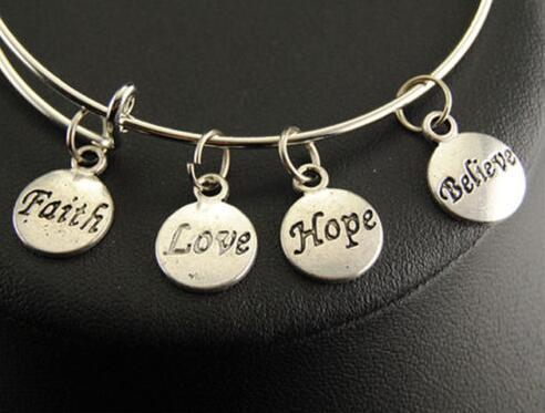 Vintage Silver Faith Love Hope Believe Charms Bangle Expandable Wire Charm Bracelet Bangles For Women Jewelry Fashion Craft Gift Adjustable