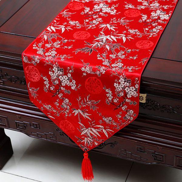 Ручной работы длинные цветочные китайский шелк ткань стол Бегун свадьба рождественские украшения стол мат дамасск банкетный стол ткань 230x33 см