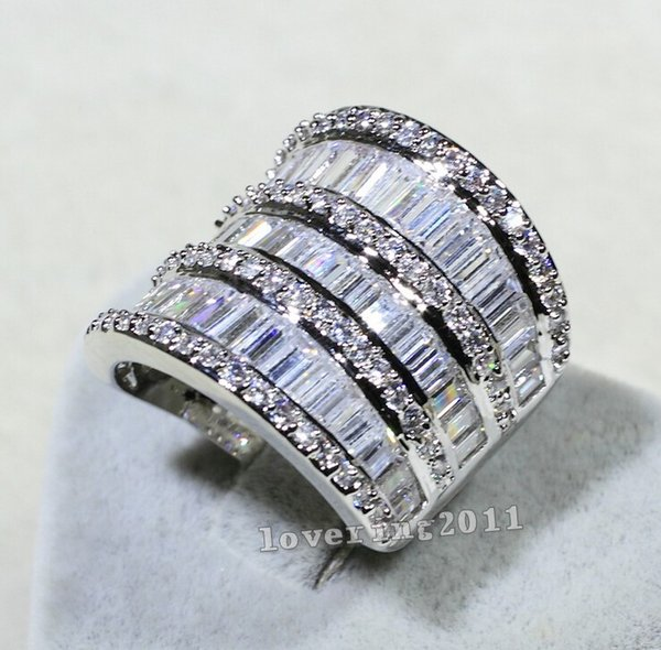 choucong Luxury Women Jewelry Diamond 925 Sterling silver Engagement Wedding Band Ring for women Sz 5-11 Gift