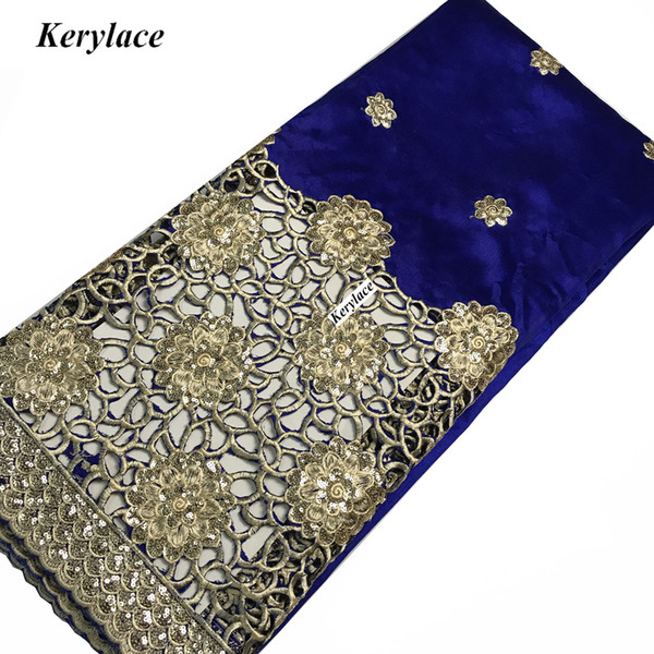 KERYLACE 5 Yds Sewing Crafts embroidered Nigerian Lace George High Quality New Silk African George Fabric Women Dress French Sequins Fabric