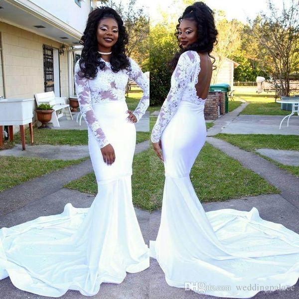 Blanc africain pas cher robes de soirée sirène bijou cou dos nu dentelle appliques balayage train robes formelles robes de soirée yousef aljasmi