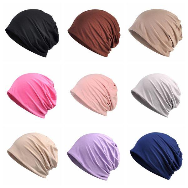 Thin Frühjahr und Sommer Sleeping Cap Baumwolle Modal Lätzchen Kopfbedeckung Dual Zweck Sonnenschirm Sport Strand Hut