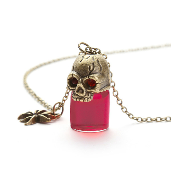 Yamily Halloween Prank Necklace Gothic Retro Blood Glass Bottle pendant necklace For Best friend women Couple jewelry Gift
