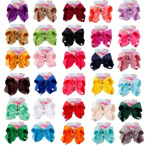 8 Inch Jojo Siwa Hair Bow Solid Color With Clips Papercard Metal Logo Girls Giant Rainbow Rhinestone Hair Accessories Hairpin hairband b1521